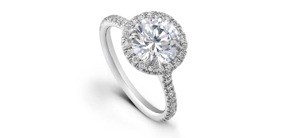 round halo engagement ring austin